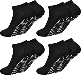 Fangehong, 4 Pares Calcetines Antideslizantes para Mujer Hombres Talla EU 40-45, Calcetin de Deporte con Grips para Yoga, Pilates