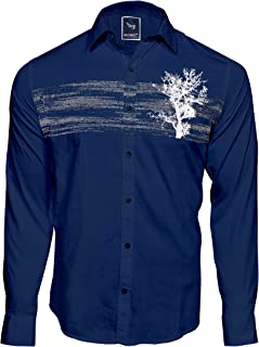 Men`S Designed Casual Nevy Blue Printed Shirts