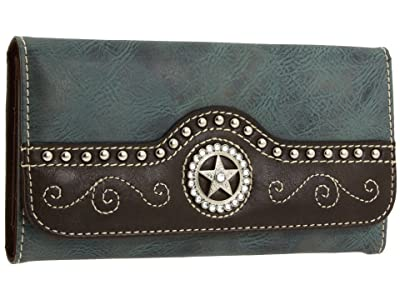 M&F Western Texas Star Wallet (Blue) Wallet Handbags