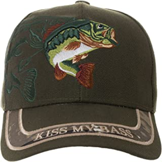 Kiss My Bass Hat - Funny Fishing Fisherman Gift -100% Cotton Embroidered Cap