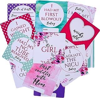Girl Preemie NICU Plastic Milestone Cards - Safe to Sanitize, Write, Wipe and Reuse