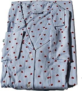 Eco Ragno Pigiama 2 Pezzi Donna Giacca Aperta con Collo Sciallato Pantalone Lungo in Jersey di Puro Cotone Fantasia Mis. d...
