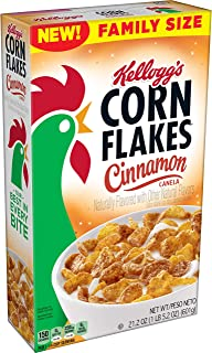 Kellogg's Corn Flakes, Breakfast Cereal, Cinnamon, Fat Free Food, Family Size, 21.2oz Box(Pack of 6)