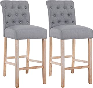 DAGONHIL 30 Inches Counter Height Bar Chairs with Button Tufted Back Solid Wood Stools,Set of 2,Gray