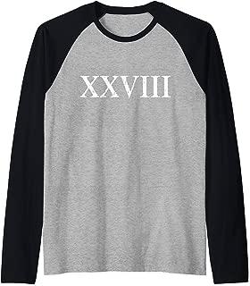 Roman Numeral 28 XXVIII ~ Twenty Eight Raglan Baseball Tee
