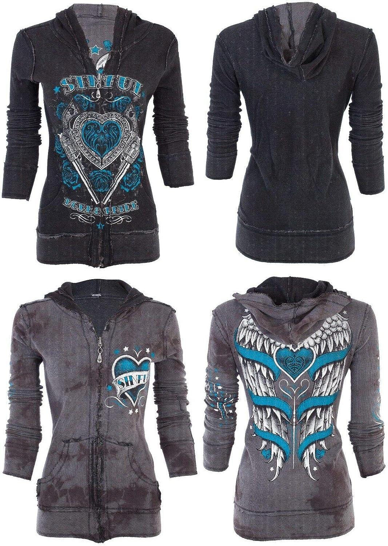 Affliction Sinful Women Reversible Hoodie Zip UP Jacket Love Bandit Wings