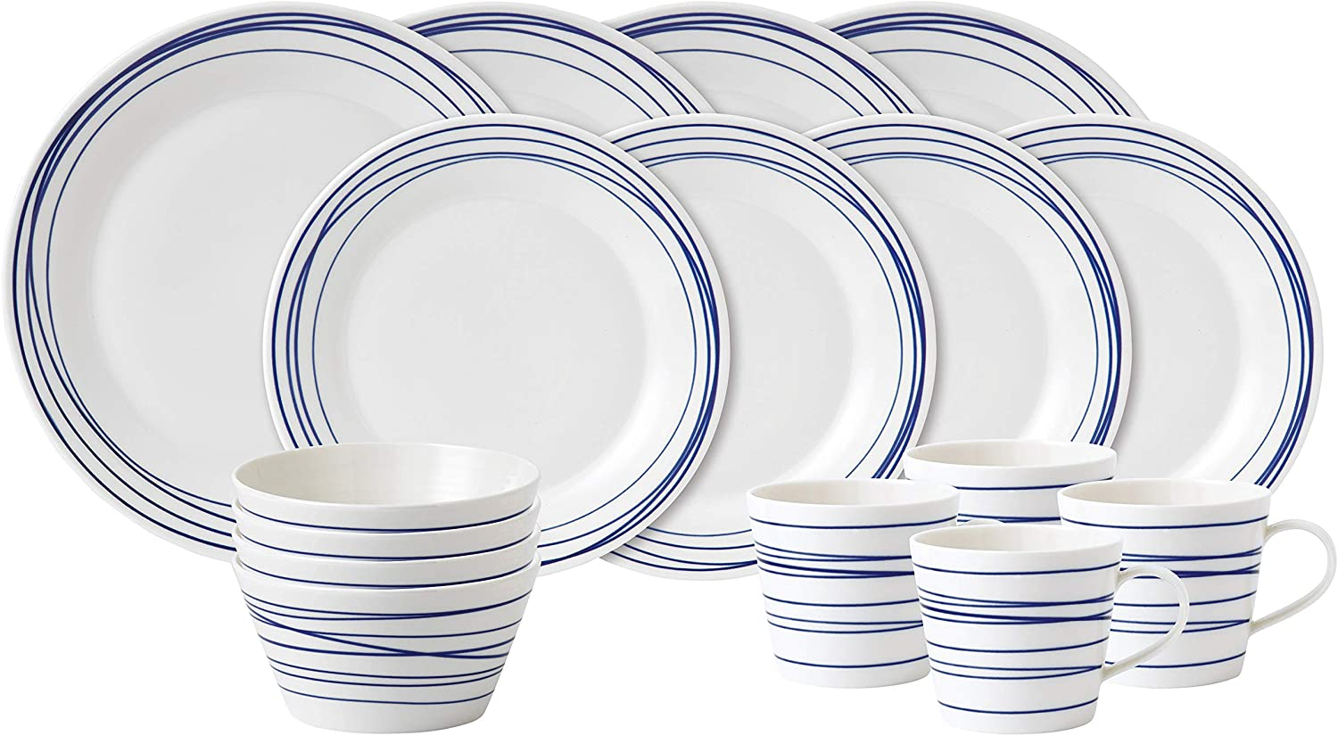Royal Seattle Mall Doulton Pacific Max 68% OFF Lines Dinner 16 Piece Dinnerware Blue Set