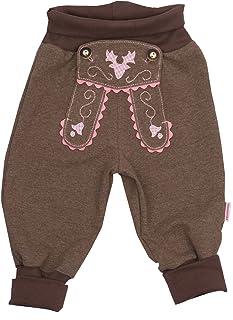 P.Eisenherz Babyhose Mädchen Sweathose braun im Lederhosenstil mit rosa Stickerei Gr.62