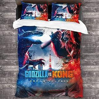 WFQTT Godzilla vs King Kong duvet cover set, Children's duvet cover,100% microfibre, used in bedroom, children's room,1 du...