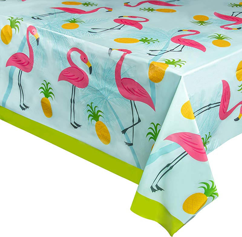 Juvale 3 Pack Flamingo Plastic Tablecloth Rectangle 54 X 108 Inch Disposable Cover Fits Up To 8 Foot Long Tables Tropical Summer Luau Themed Party Supplies 4 5 X 9 Feet