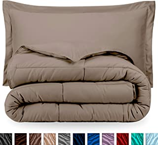 Bare Home Comforter Set - King/California King - Goose Down Alternative - Ultra-Soft - Premium 1800 Series - Hypoallergenic - All Season Breathable Warmth (King/Cal King, Taupe)