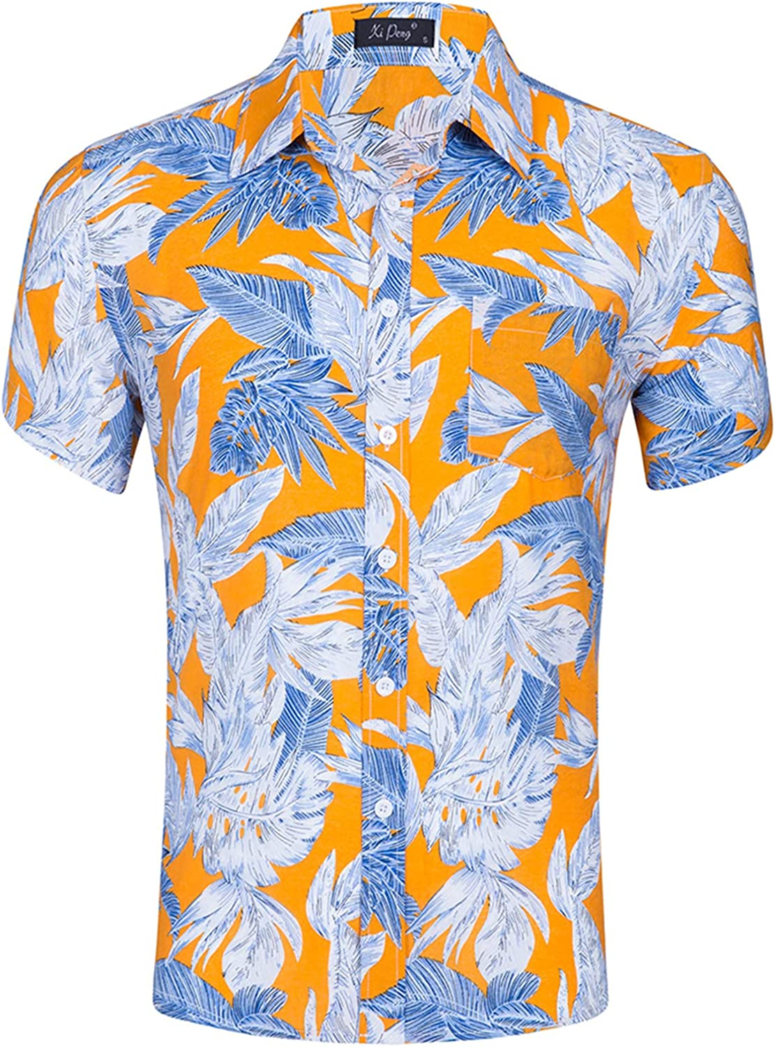 Men's 100% Cotton Short Sleeve Floral Printed Hawaiian Shirts Casual Button Down Flower Beach Party Holiday