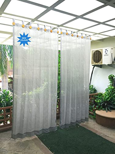 HIPPO Plastic Outdoor Loop Curtains 80-85% Sun Blockage (Grey, 2 Nos. x 4.0 W x 7.5 ft L)