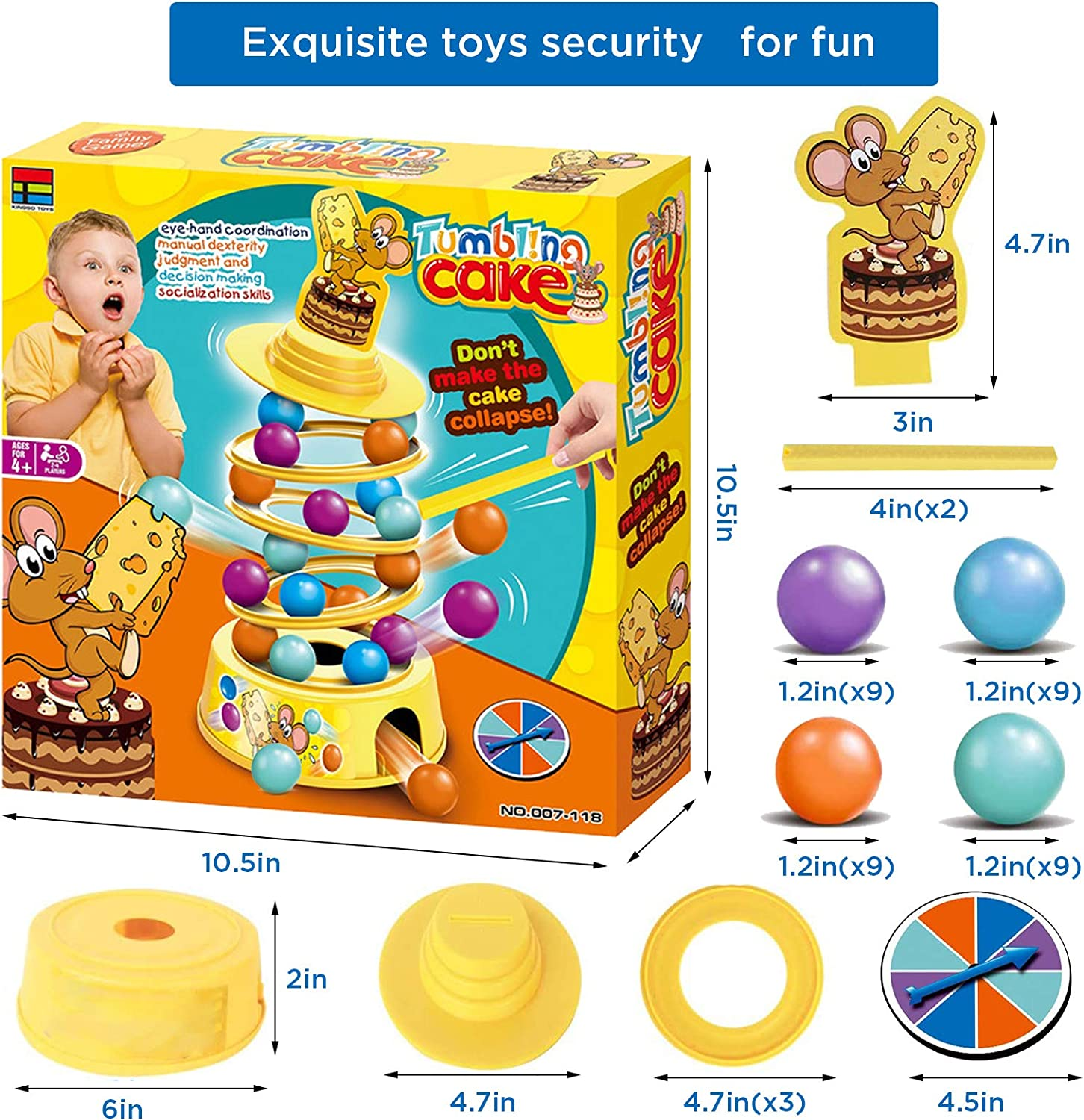 48Pcs Tower Stacking Fun Board Game for Kids 4-6 Adults Balance Suspend Family Games for Party Montessori Tumbling Educational Fine Motor Skills Toys Gifts for 4 5 6 7 8 9 Years Old Boys /& Girls