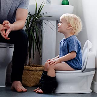 Nuby My Real Potty Training Toilet with Life-Like Flush Button & Sound for Toddlers & Kids, White