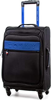 Tommy Hilfiger Network XL Softside Expandable Spinner Luggage, Black, 20 Inch
