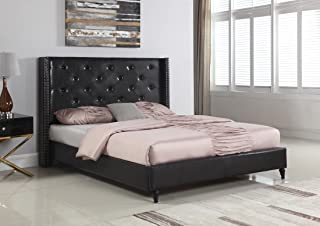 Amazon.com: Black - Leather / Beds, Frames & Bases / Bedroom ...