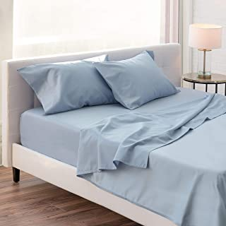 Luxus 1000 Thread Count Cotton Blend Sateen Sheet Set - 4 Piece - King Size - Wrinkle Resistant - Luxuriously Soft & Smooth - Durable - Classic - Deep Pocket Fitted - Easy fit - Blue
