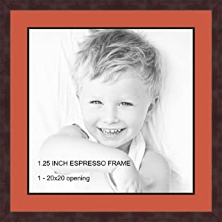 Art to Frames Double-Multimat-655-693/89-FRBW26061 Collage Frame Photo Mat Double Mat with 1-20x20 Openings and Espresso Frame
