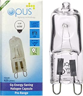 10 x Opus G9 42W = 60W 240V Mains Clear Long Life Eco Halogen Energy Saving Capsule Lamp Dimmable Light Bulb