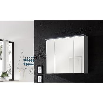 Armario de Baño con Espejo e Iluminado LED 66 x 72 x 17 cm | Interruptor, ESTACIÓN METEOROLÓGICA, Toma DE Corriente, Reloj, A++ | Antracita: Amazon.es: Hogar