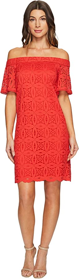 Maggy London - Geo Petal Lace Off the Shoulder Shift Dress