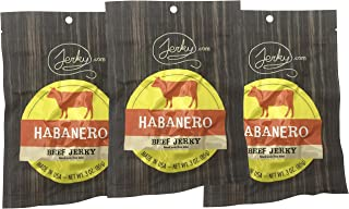 Jerky.com's Habanero Beef Jerky - 3 PACK - All-Natural, No Added Preservatives, No Added Nitrites or Nitrates - 7.5 total oz.