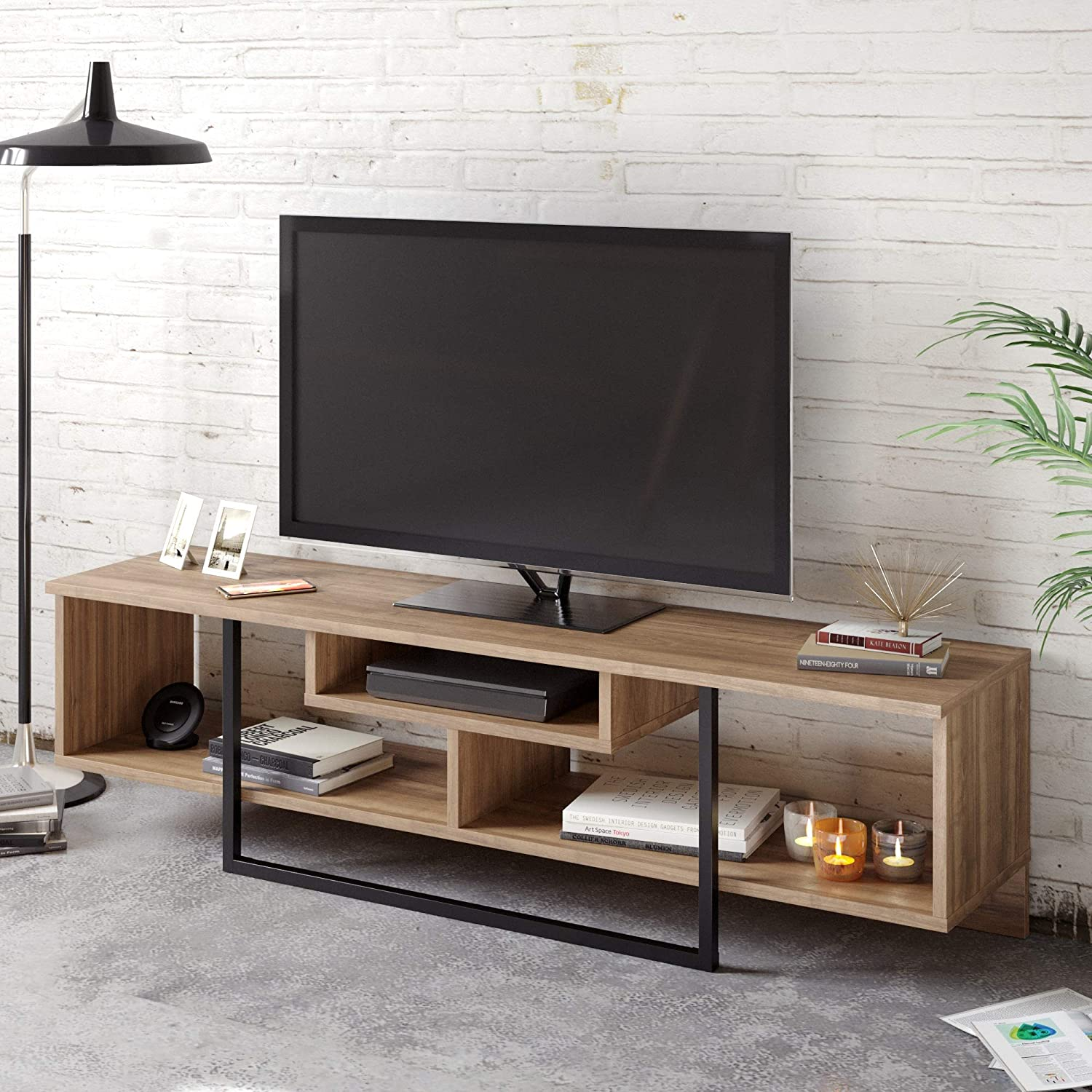 Decorotika Asal 150 Cm Wide Tv Unit Media Console For Tvs Up To 65 Inch Walnut And Black Amazon Co Uk Kitchen Home