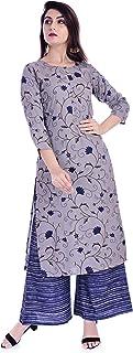 Uma Women's Kurti with Plazo Suit Set With Rayon Fabric Kurta & Palazzo Straight Style Floral Printed Grey Color.(UE-51)