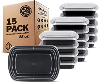 Freshware Meal Prep Containers [15 Pack] 1 Compartment Food Storage Containers with Lids, Bento Box | BPA Free | Stackable | Microwave/Dishwasher/Freezer Safe, Portion Control, 21 Day Fix (28 oz)