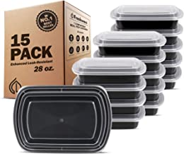 Freshware Meal Prep Containers [15 Pack] 1 Compartment with Lids, Food Storage Bento Box   BPA Free   Stackable   Lunch Boxes, Microwave/Dishwasher/Freezer Safe, Portion Control, 21 day fix (28 oz)
