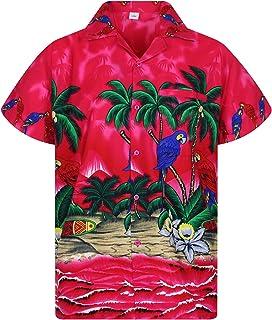 Funky Camisa Hawaiana Señores   XS -12XL   Manga Corta   Bolsillo Delantero   impresión De Hawaii  Loro