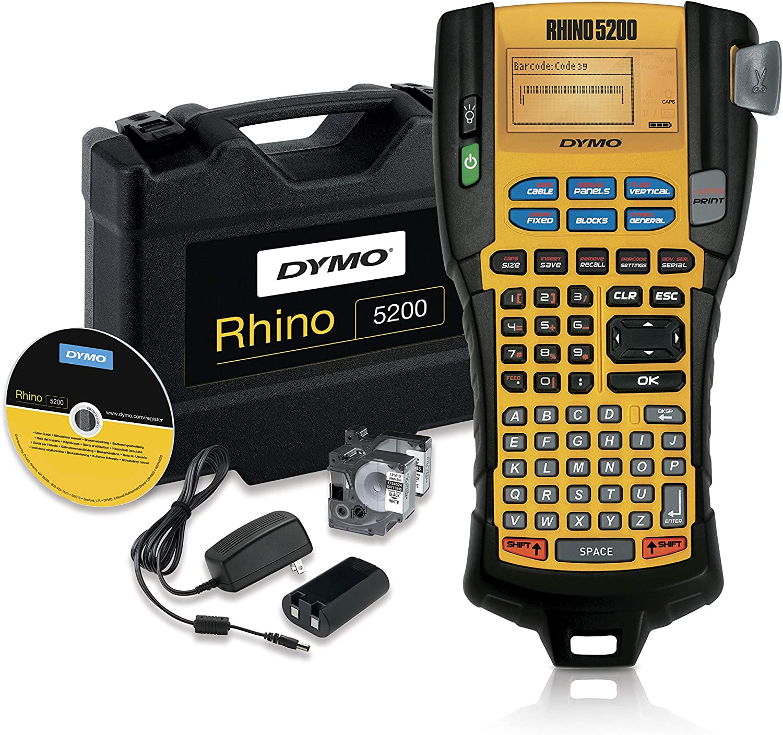 "DYMO RhinoPRO 5200 Industrial Label Maker & DYMO Industrial Heat Shrink Tubes, ½"", Black Print on White, Great for School Supplies"