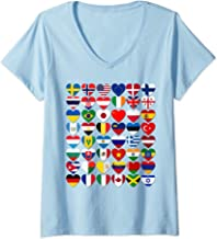 Womens 48 Flags of the Countries of the World,International Gift V-Neck T-Shirt