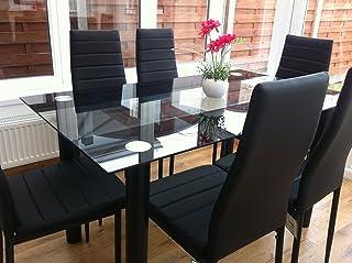 KOSY KOALA Impresionante juego de mesa de comedor de cristal negro y 6 sillas de piel sintética de color negro (mesa negra y 6 sillas negras)
