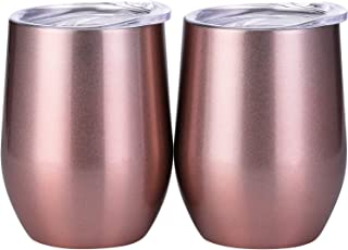 Skylety 12 oz Double-insulated Stemless Glass, Stainless Steel Tumbler Cup with Lids for Wine, Coffee, Drinks, Champagne, Cocktails, 2 Pieces (Bright Rose Gold)
