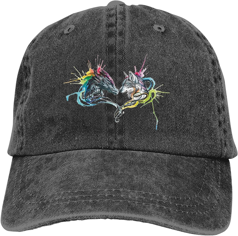 NC Colorful Dragon and Wolf Zippered Trucks Cotton Hat Cowboy Hat Baseball Caps Black