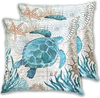 LUCASE LEMON ALEX Blue Sea Turtle Nautical Map Pillow Covers Decorative 16