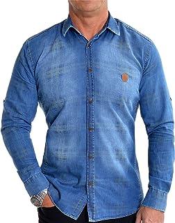 Men's Classic Blue Denim Jean Shirt Yellow Check Buttons Dark Wash Leather Badge