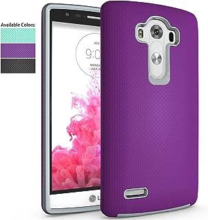 LG G4 Case,NiuBox Slim Fit Armor Dual Layer [PC + TPU Hybrid] Gear Textured Anti-Slip Shock Absorption Protective Phone Case Cover for LG G4 Purple