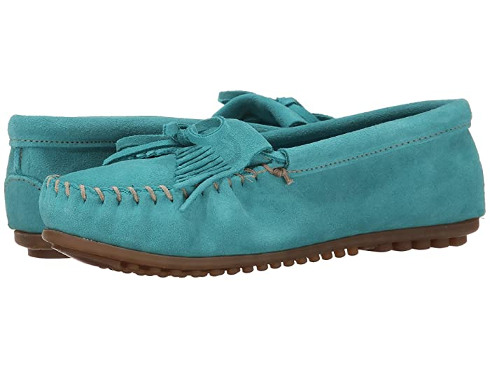80s Shoes, Sneakers, Jelly flats Minnetonka Kilty Moc Turquoise Suede Womens Shoes $46.95 AT vintagedancer.com