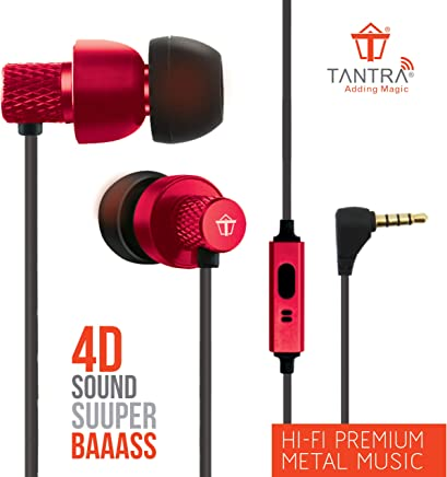 Tantra T1000 Super Extra Bass 225 Earphones Subwoofer Wired Headphones (Red)