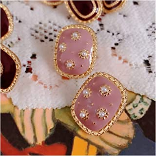 ZCPCS 2020 New Vintage Oil Painting Colorful Graffiti Geometric Triangle Square Moon Sunflower Stud Earrings for Women (Me...