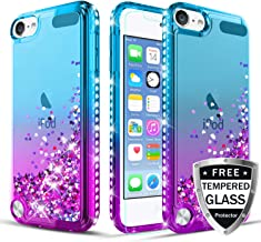 iPod Touch Case 7th/6th/5th Generation TPU Case W[Tempered Glass Screen Protector] Glitter Diamond Cute Hearts Flowing Sparkle Bling Bling Case for Girls/Women-Teal/Purple