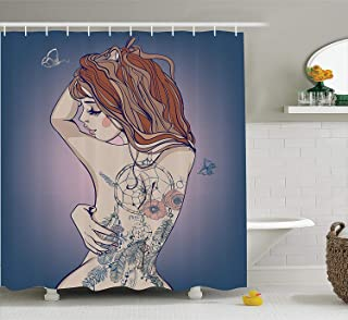Girly Decor Collection, Sexy Woman Posing with Tribal Dreamcatcher Tattoos on Her Back Nudity Human Body Graphic Work, Polyester Fabric Bathroom Shower Curtain, 84 Inches Extra Long, Multi