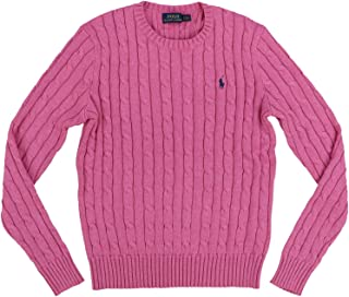 POLO RALPH LAUREN Womens Cable Knit Crew Neck Sweater (Small, Blush Pink)