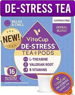 Sponsored Ad - VitaCup DeStress Herbal Tea Pods 16 Ct | Relax & Chill | L-Theanine, Valerian Root & Vitamins B1, B5, B6, B...