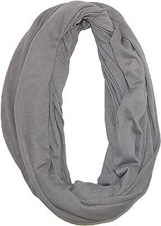 CTM Women's Solid Infinity Loop Scarf with Hidden Zipper Pocket