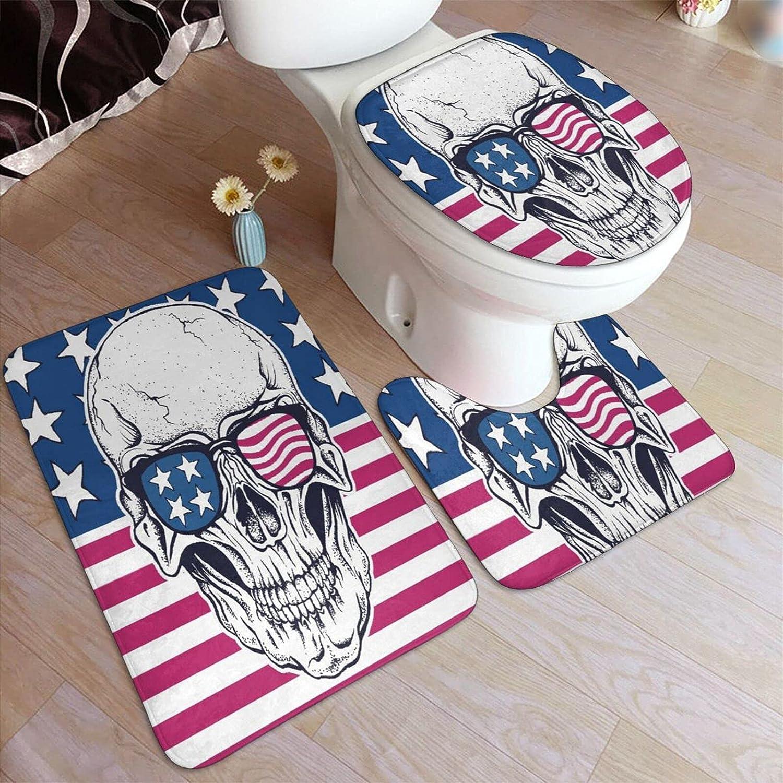 3 Pcs Fashion Bathroom Rugs Set Long-awaited American U- Flag On Skull Sunglasses USA