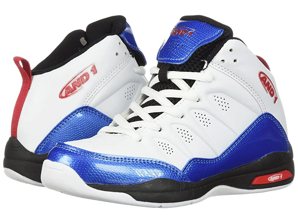 AND1 Kids Breakout (Little Kid/Big Kid) (White/French Blue/Fiery Red) Boys Shoes